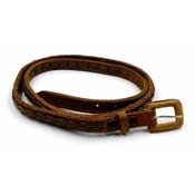Skinny Made In Mexico Brown Tooled Braided Leather Belt