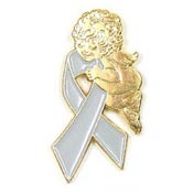 Gray Ribbon Angel Tie Tack Pin