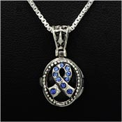 Sterling Crystal Blue Ribbon Prayer Box Necklace
