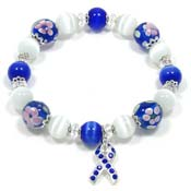 Blue Floral Lampwork Awareness Bracelet