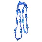 Blue Ribbon Mardi Gras Bead Necklace