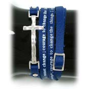 Blue Serenity Prayer Leather Wrap Bracelet