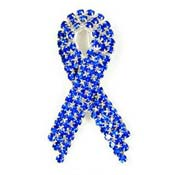Super Sparkly Blue Ribbon Pin