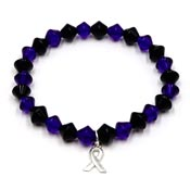 Beaded Thin Blue Line Ribbon Bracelet