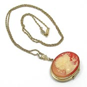 Vintage 1928 Resin Cameo Locket Necklace