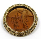 Vintage Amber Glass Intaglio Cameo Pin Unsigned Goldette