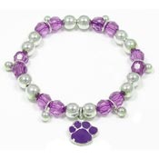 Colorful Paw Stretch Bracelet Purple