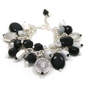 Beaded Black And White Chain Charm Bracelet
