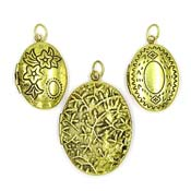 Three Oval Goldtone Lockets Set