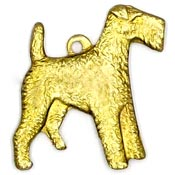 Airedale Terrier Charm Brass