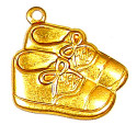 Baby Booties Charm Brass