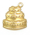 Wedding Cake Charm Brass