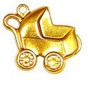 Baby Buggy Charm Brass