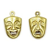 Double Sided Comedy Tragedy Charm Brass