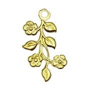 Flower Spray Charm Brass