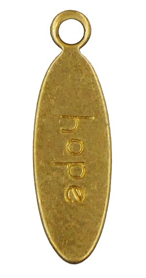 Hope Oval Tag Charm Brass