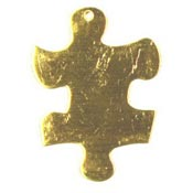 Large Brass Puzzle Piece Charm