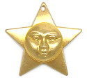 Star With Face Charm Brass
