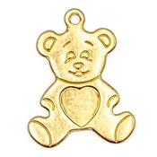 Bear With Heart Charm Brass