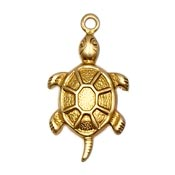 Small Turtle Charm Brass