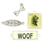 Set Of Four Dog Themed Charms And Connectors