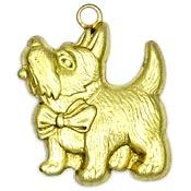 Scottish Terrier With Bow Charm Brass