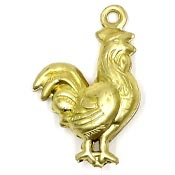 Rooster Charm Brass Double-sided