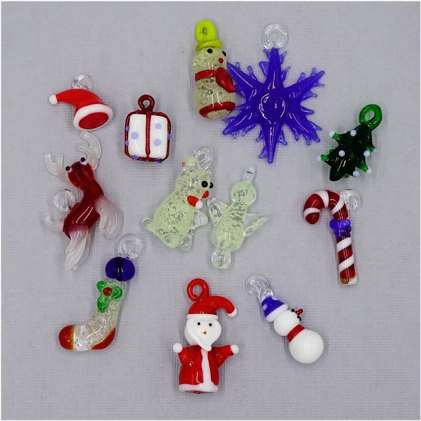 lampwork glass christmas charms pendants set of twelve - Christmas Charms