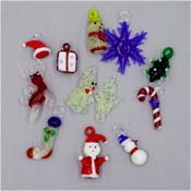 Lampwork Glass Christmas Charms Pendants Set Of Twelve