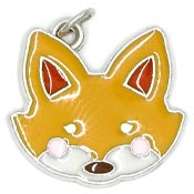 Enameled Fox Face Or Head Charm