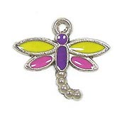 Pink And Yellow Dragonfly Charm