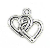 Two Hearts Entwined Charm Silver