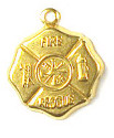 Firemans Patch Charm Brass