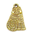 Artsy Cat Charm Gold Plated