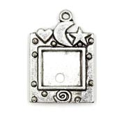 Antiqued Silver Heart Moon Star Photo Frame Charm
