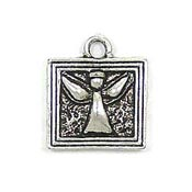 Square Made For An Angel Charm Silver