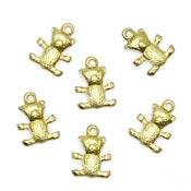 Mini Teddy Bear Charm Brass
