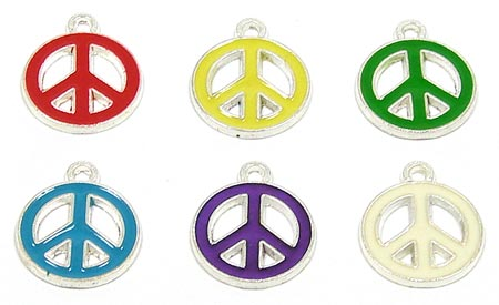 Colorful Peace Sign Charms For Craft And Jewelry Designs