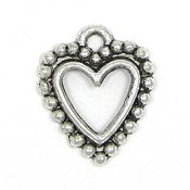 Open Beaded Edge Heart Charm Silver
