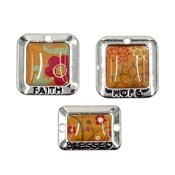 Orange Floral Faith Hope Blessed Charm Connector  Set