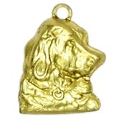 Right Facing Dog Head Charm Brass