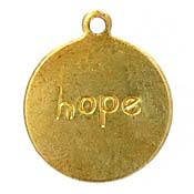 Hope Round Tag Word Charm Brass