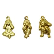 Hear See Speak No Evil Monkey Charms Set Brass