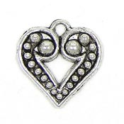 Granulated Heart Charm Silver