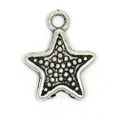 Granulated Star Charm Silver Plated