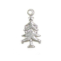 Small Silver Christmas Tree.Mini Christmas Tree Charm Silver