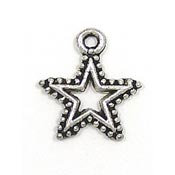 Open Star Charm With Beaded Edging Silver Plated