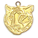 Tiger Face Charm Brass