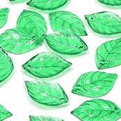Transparent Green Dogwood Leaf Charms 10 Pieces