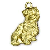 Scruffy Dog Charm Doublesided Brass